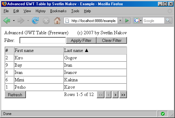 GWT Advanced table widget - screenshot