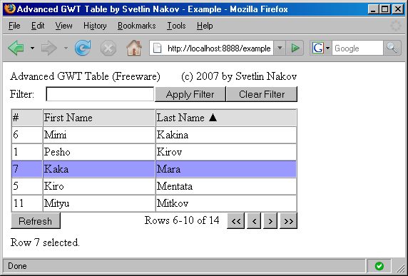 GWT Advanced table - screenshot
