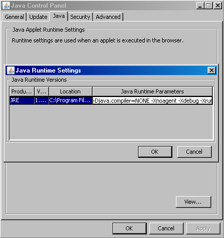 Java Plugin - Runtime Settings
