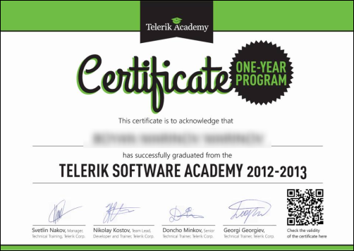 Certificate Software Academy