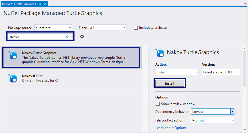 Install Nakov.TurtleGraphics NuGet Package